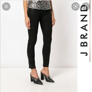 J BRAND Coated Black Skinny Jeans with Lace Detail Sz 6